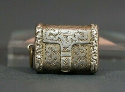 1821 BIRMINGHAM GEORGIAN STERLING SILVER VINAIGRETTE BOX PURSE MOTIF IS mark
