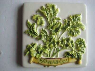 ORIGINAL STYLE 10 cms MOULDED & HAND-PAINTED HERBS TILE - PARSLEY