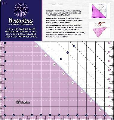 "Crafters Companion Threaders 12.5"" X 12/5"" Folding Ruler Cut Accurate Squares"