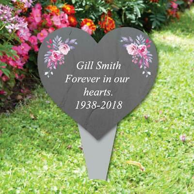 Personalised Heart Memorial Plaque Grave Flowers Marker Slate Effect Plaque