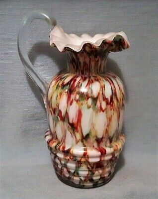 """Exquisite Antique 7"""" h Ruffled & Ribbed Multi-Color Art Glass Pitcher"""
