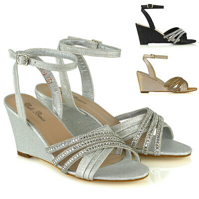 Womens Mid Heel Wedge Shoes Ladies Diamante Evening Sparkly Strappy Sandals Size