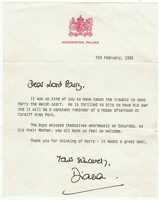 Diana, Princess of Wales - Typed letter signed regarding a Welsh scarf for Harry
