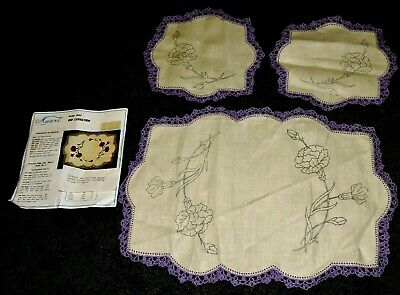 3 Piece Doily Set Red Carnation Crewel Embroidery Stamped Traced Linen Crocheted