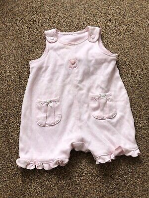 Next pink dungaree romper playsuit with ruffle detail baby girls newborn
