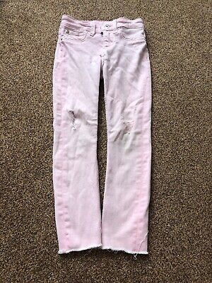 H&M pink denim skinny fit ripped style jeans trousers girls age 4-5 years