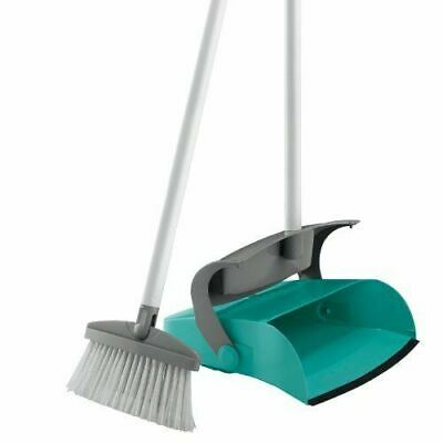 Leifheit Long Handled Covered Dust Pan and Brush Set ,Turquoise and Grey
