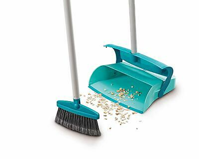 Leifheit Long Handled Covered Dust Pan and Brush Set ,Turquoise and Black
