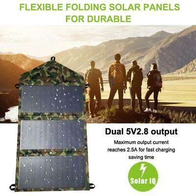 14W 5V 3A Dual USB Foldable Solar Panel Camping Hiking Battery / Phone Charger