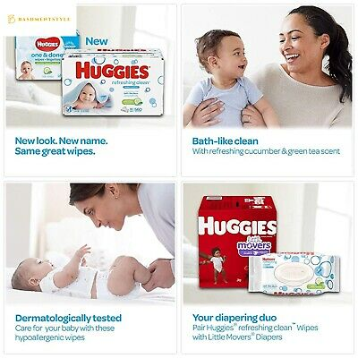 HUGGIES Refreshing Clean Scented Baby Wipes, Hypoallergenic, 3 Refill Packs (624