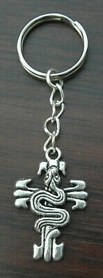 Snake on the Cross Asp Goth Metal Keyring Small Emo Gothic Key Ring Gift