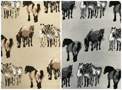 Polar Fleece Anti Pill Fabric Premium Quality Soft Material Horses Print