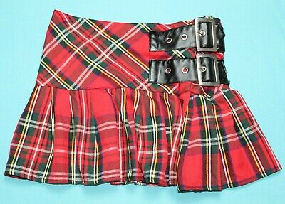 598abb20c HELL BUNNY Womens Tartan Plaid Flare Buckle Mini Skirt Size L Red EUC #14292