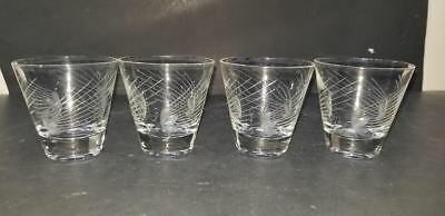 4 ETCHED LEAF w/RAYS CRYSTAL GLASS SHOT GLASSES 3 oz