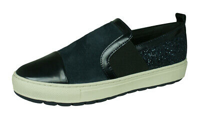 los Angeles 96e16 043c7 GEOX D BREEDA A Leather Glitter Casual Shoes Slip-On Fashion Sneakers  Dark-Navy