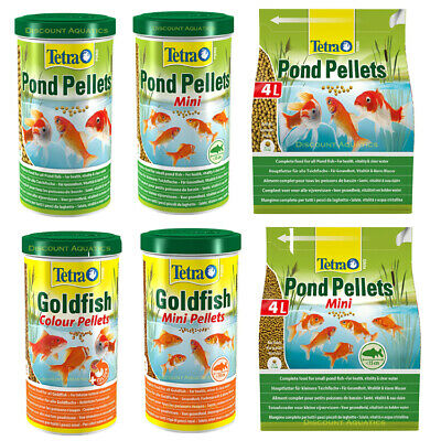 Tetra Pond Pellets Mini/Medium 1L/4L Fish Food Health Vitality Goldfish Koi