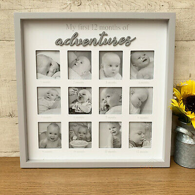 White Multi Hanging First Year Baby Picture Collage Home Photo Frame CLEARANCE