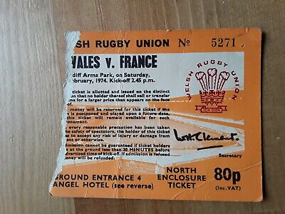 RUGBY UNION MATCH  TICKET - WALES  v FRANCE Five Nations 1974