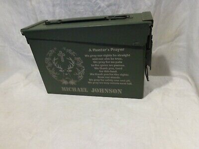 30 Cal Metal Ammo Can Military Box Shotgun Rifle Gun Storage with Hunters Prayer