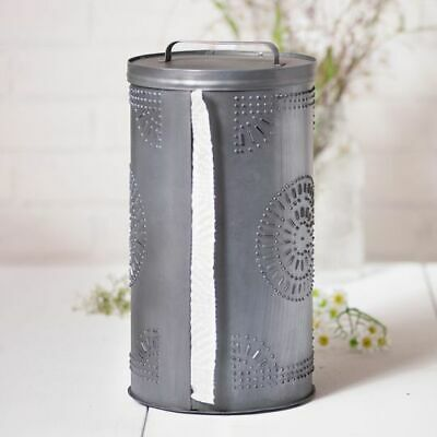 Galvanized Punched Tin Paper Towel Dispenser in Antique Tin Paper Towel Holder