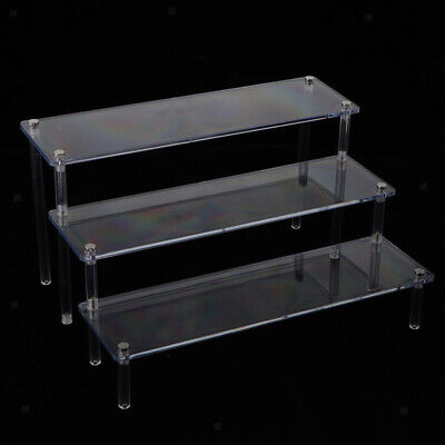 Clear Acrylic 3 Tier Shelf Table Top Retail Display Riser Toys Doll Display