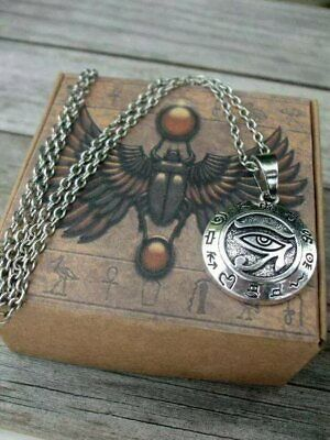 Horus Eye Pendant Necklace + Egyptian Box -  Amulet Ra Udjat Egypt Osiris