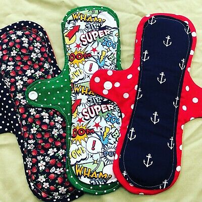 Cloth Pad Washable reusable Sanitary Pads, 11 in Long, Light/Moderate bleeder