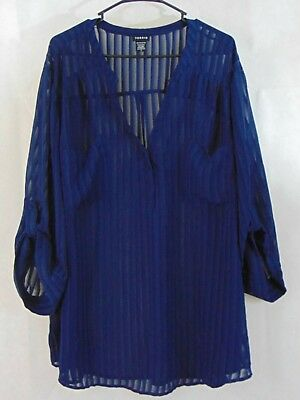 Torrid Shadow Stripe Pullover Blouse Blue Popover Sheer Pockets plus size 5 5x