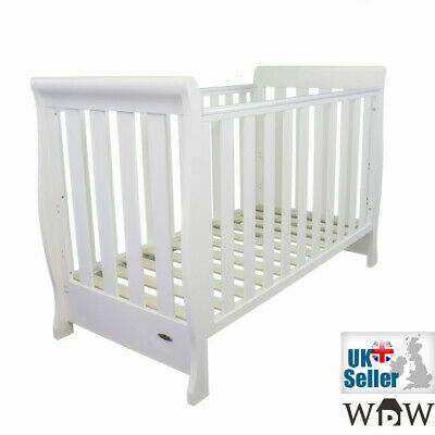 Solid Wood Sleigh Cot Baby Bed 135x66cm & Free Water Repellent Mattress 120x60cm