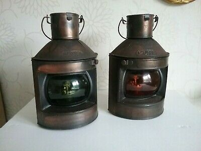 SHIP'S RETRO PORT AND STARBOARD Coppered NAVIGATION LIGHTS with oil burners