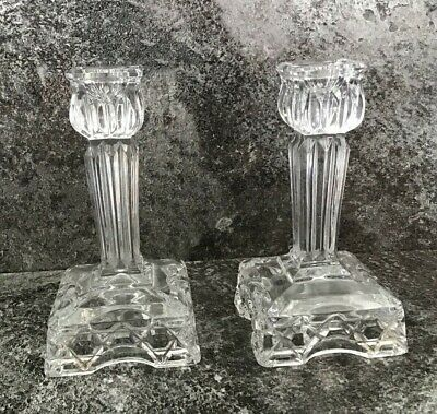 x2 LEAD CRYSTAL CANDLESTICK HOLDERS