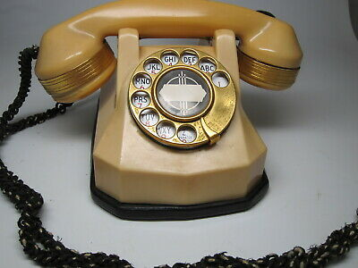 Vintage Ivory Automatic Electric Monophone Rotary Telephone Gold Plated AE40