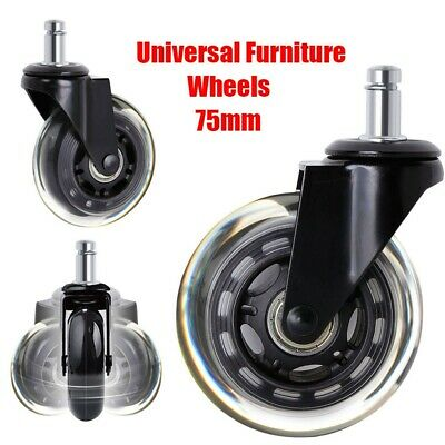 5X Office Chair Caster Wheels Universal Replacement Rubber Furniture Wheel Black