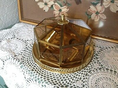 Lovely Art Deco Style Brass and Leaded Glass/Ceiling Light #4443