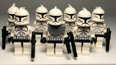 lego Star Wars 7x Clone trooper mini figures with blasters, faces & helmets
