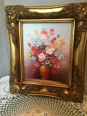 Vintage Ornate Swept Gilt/Gold Picture Frame with floral oil picture #5674