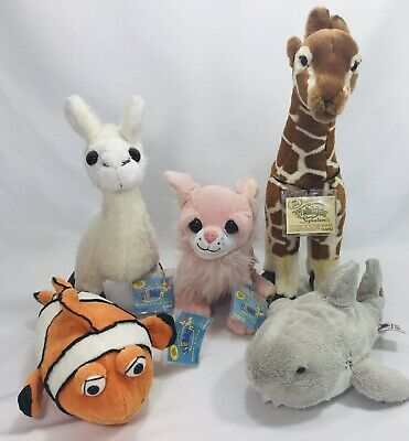 Webkinz Ganz Plush Animals Lot of 5 Shark Signature Giraffe Llama