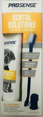 Pro-Sense Dental Solutions For Dogs  Enzymatic  3-Piece Kit  Toothbrush Paste