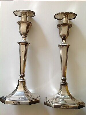 Solid Silver Candlesticks, pair by William Hutton & Sons 1927