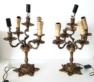Pair of antique French ornate brass candelabras, lamps, electric, candlesticks.
