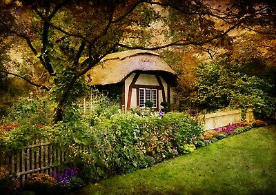 A4| Enchanted Forest Cottage Poster Size A4 Shire Magical Poster Gift #16372