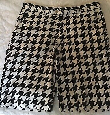 """0ebef7971e Loudmouth Golf Shorts Mens 34 Black White Houndstooth Flat Front Rare 11""""  inseam"""