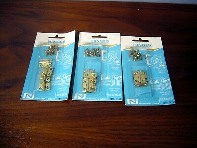 "Small Butt Narrow Hinges Vintage NOS 12 Brass 3/4"" Boxes Crafts National Lock"