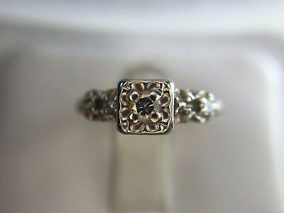 Estate Signed Artcarved 14k White Gold Round Diamond Small Engagement Ring