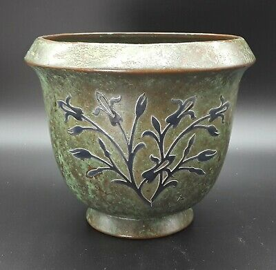 """Silvercrest Sterling on Verdigris Bronze 4.25"""" vase with abstract tulip flowers"""