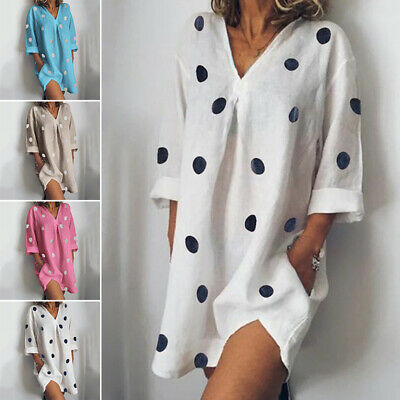 Dresses Dress Party Beach Cotton blends Long Shirt Polka dot Casual Ladies