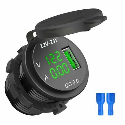 12V/24V Quick Charge 3.0 Car Cigarette Lighter Socket USB Charger LED Voltmeter