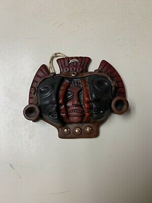 Three Faces Ages of Man Mexican Aztec Mask Terracotta Pottery Wall Sculpture Art