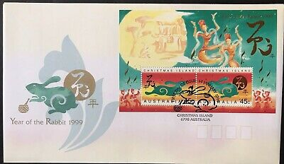 CHRISTMAS ISLAND 1999 YEAR OF THE RABBIT MINI SHEET FIRST DAY COVER.       st114