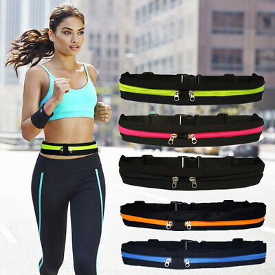 New Dual Pocket Running Runner Waist Belt Bag Pack Pouch Sport Jogging Useful cf